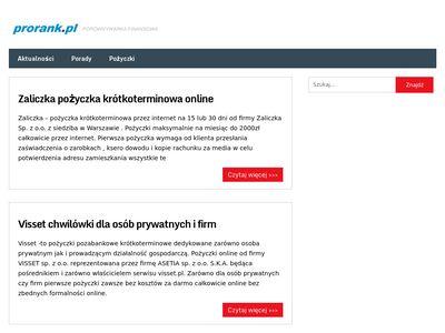 Prorank.pl - zadbamy o twoje finanse