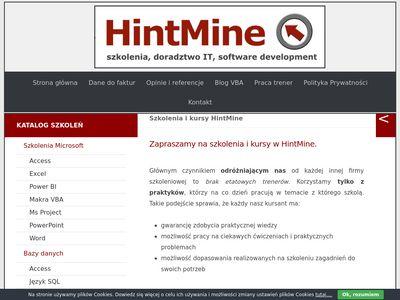 Hintmine.com szkolenia excel Wrocław